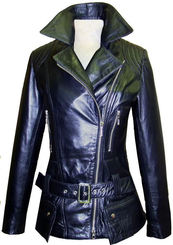 handmade belted black biker leather jacket
