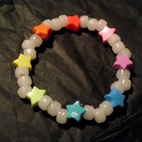 Rainbow stars glowing kandi