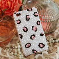 Bling Crystal Sparkle Pink Leopard Pattern On All Pearls iPhone 4/4S Case (#684)