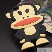 New Black Big Mouth Monkey Soft Silicon iPhone 4/4S Case (#546)