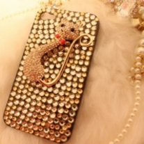 Bling Crystal Pussy Cat On All White Crystals iPhone 4/4S Case (#434)