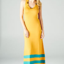 Orange & Teal Stripe Clothing Company Romeo & Juliet Couture Long Maxi Dress ML