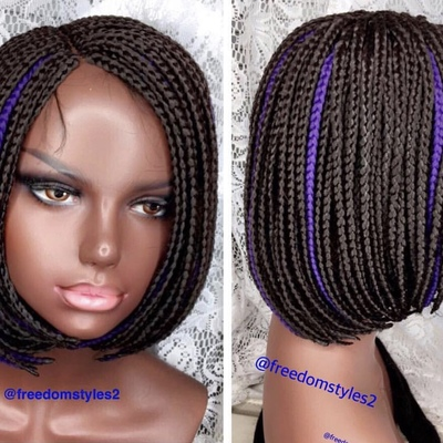 Glue-less bob handmade everyday closure wig with color style