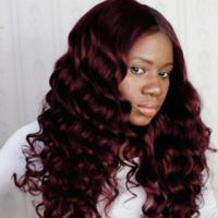 Burgundy Human Hair Frontal wig ( Handmade) - Thumbnail 1