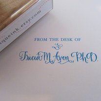 From the desk of - Custom Calligraphy Wooden stamp - Your name - choice of style