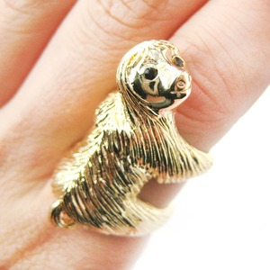 Large Sloth Animal Hug Wrap Ring in Shiny Gold - Sizes 4 to 9 Available