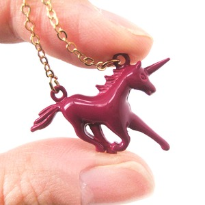 Mythical Creature Unicorn Shaped Pendant Necklace in Dark Red