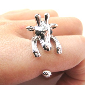 Giraffe Shaped Animal Wrap Around Ring in Shiny Silver - Sizes 7 to 9 Available
