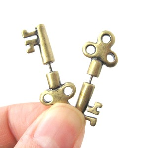 3D Fake Gauge Realistic Antique Key Shaped Stud Earrings in Brass