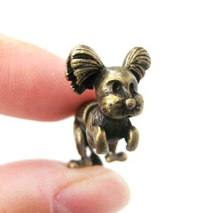 Fake Gauge Puppy Dog Shaped Stud Earrings in Brass | SALE