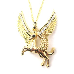 Pegasus Unicorn Shaped Animal Pendant Necklace in Gold with Wings