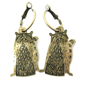 Raccoon Shaped Three Part Dangle Earrings in Brass
