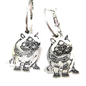 Manx Kitty Cat Shaped Three Part Dangle Earrings in Silver