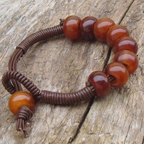 Brown Leather Bracelet with Large Horn Beads