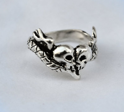 Soul mates memento mori ring solid sterling silver ring snake skulls and heart with wings