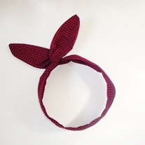 Blood Red Gingham Headband