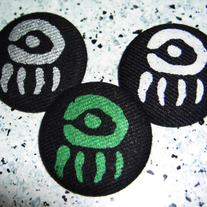 "Green or Silver ""Doll Eye"" Screen Printed Hemp Button! 1.5"""