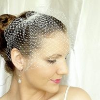 Ivory Birdcage Veil made from 8 inch French Netting - Thumbnail 1