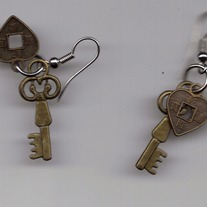 Heart and Key Earrings