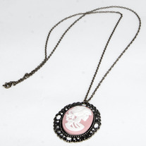 Pink Day Of The Dead Cameo Necklace