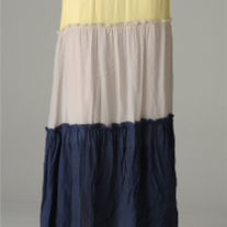 Colorblock Yellow Navy Khaki Prairie Maxi Peasant Boho Long Skirt SML