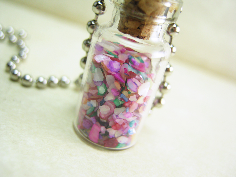 ocean necklace vial pendant star mermaid glass shell bottle shells of p sea s jewelry tears