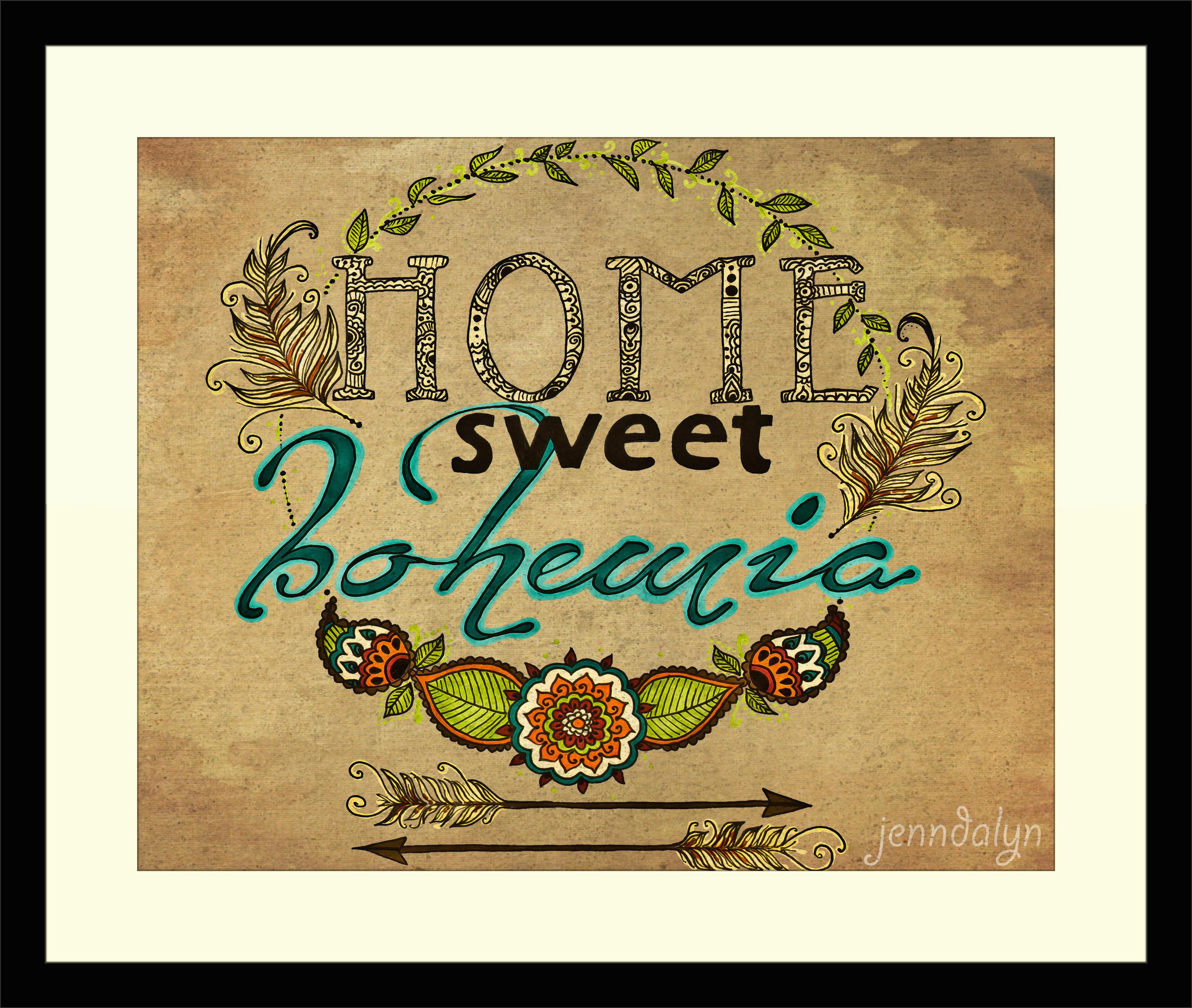 home sweet bohemia 16 x 20 paper print bohemian home decor