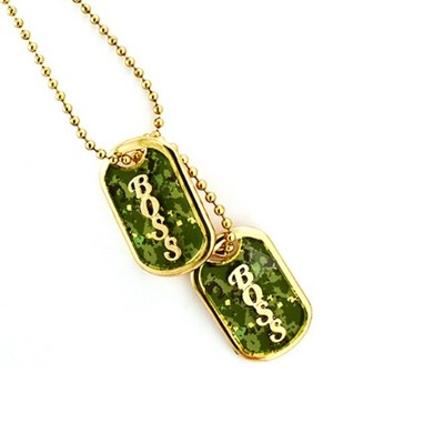 Boss army tag necklace