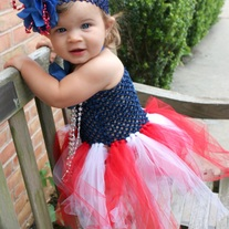 Patriotic Blue Flower Headband for baby girls to teen
