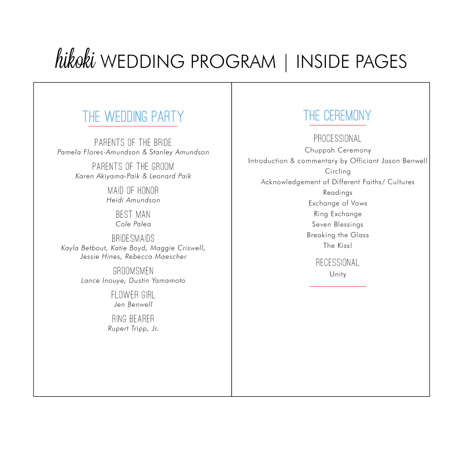 Thank You Wedding Program Wording