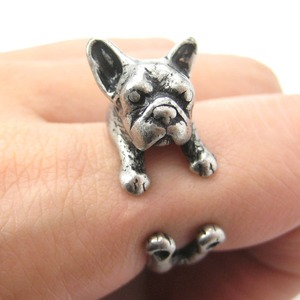 French Bulldog Puppy Animal Wrap Ring in Silver - Sizes 4 to 9 Available