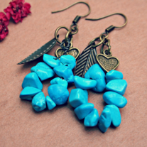 suvi. turquoise and leaf earrings
