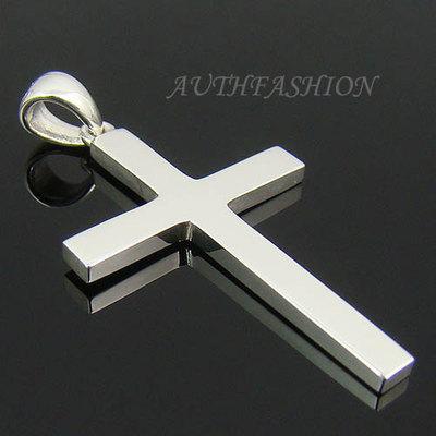 mens sterling silver plain cross pendant for chain