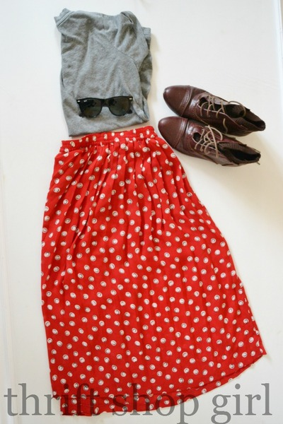 Red ditsy skirt