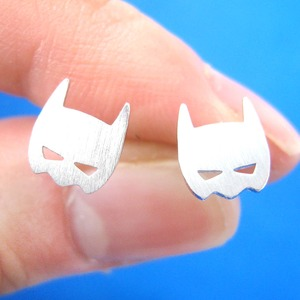 Batman Bat Mask Shaped Stud Earrings in Silver | Allergy Free