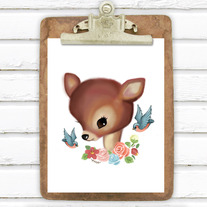 Retro Deer 5x7 Art Print
