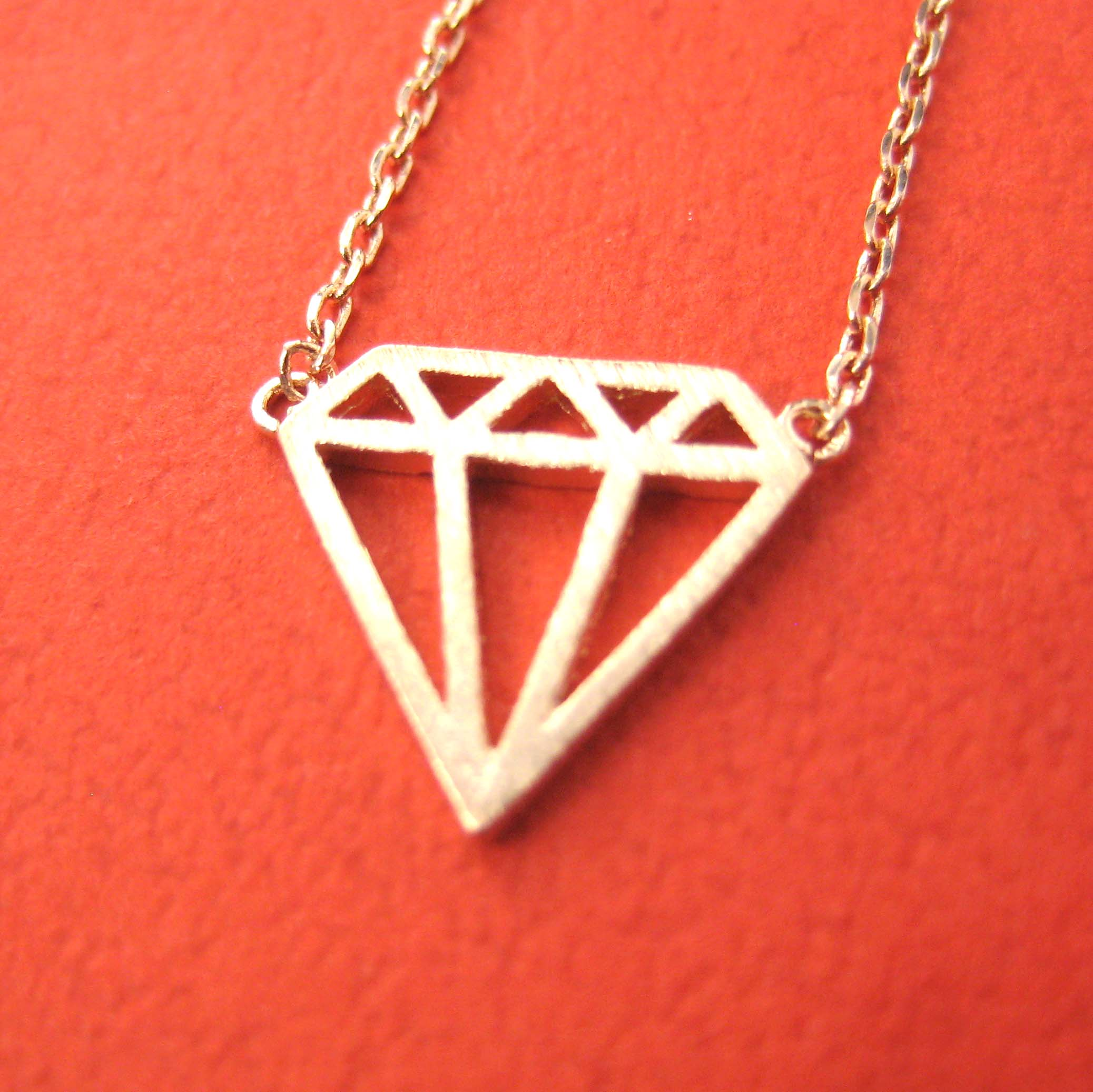 Simple diamond shaped cut out outline necklace in rose gold dotoly simple diamond shaped cut out outline necklace in rose gold aloadofball Images