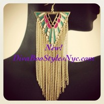 Tribal Earrings - Mint