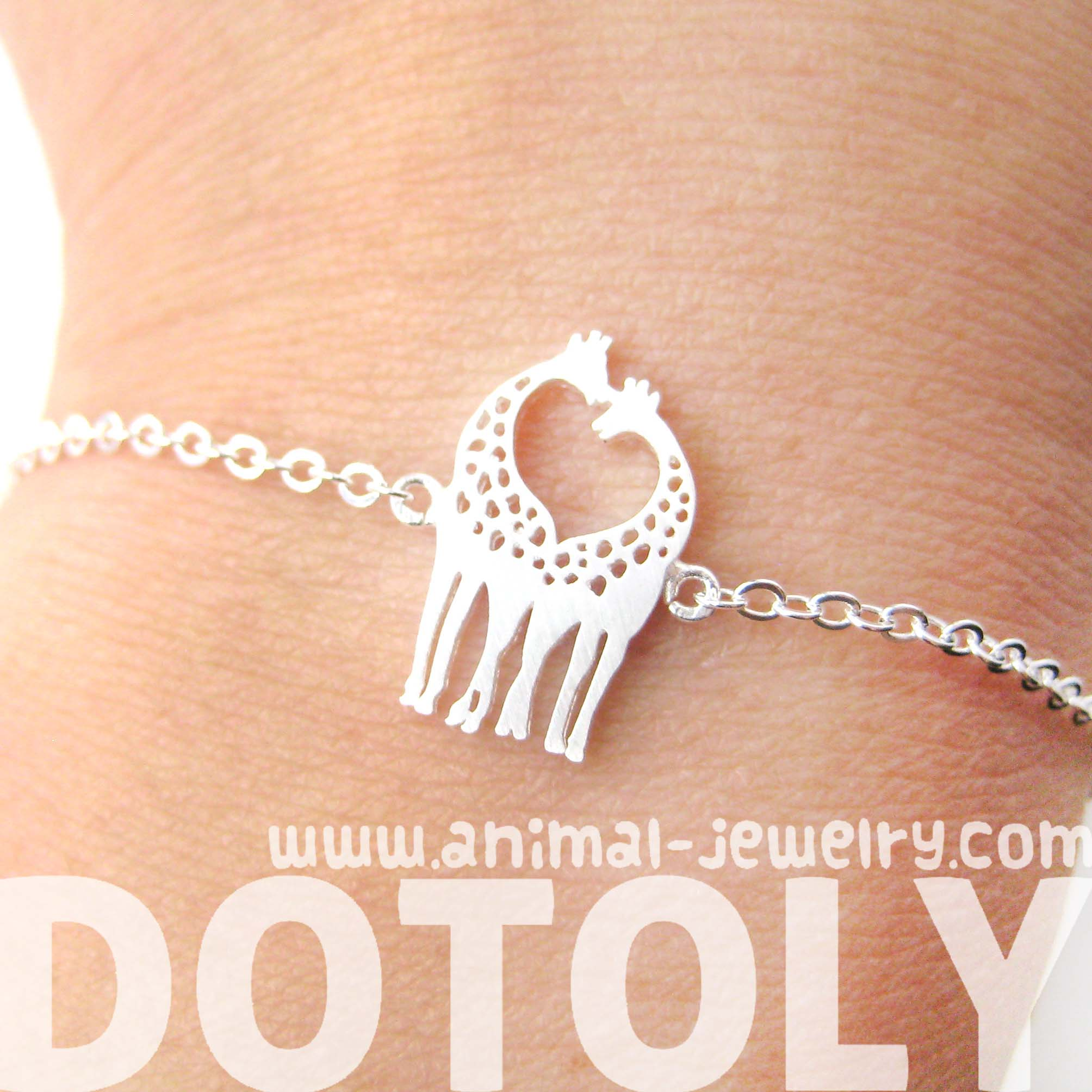 Mother and Baby Giraffe Shaped Animal Charm Bracelet in Silver