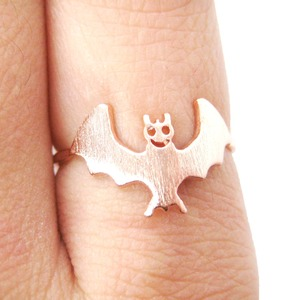 Cute Bat Shaped Animal Themed Ring in Rose Gold | US Size 6 Only