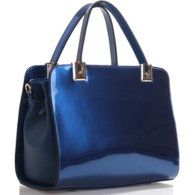 Cobalt Blue Patent Leather/Animal Print Handbag · The Handbag ...