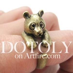 3D Panda Bear Ring in Bronze - Sizes 5 to 9 Available