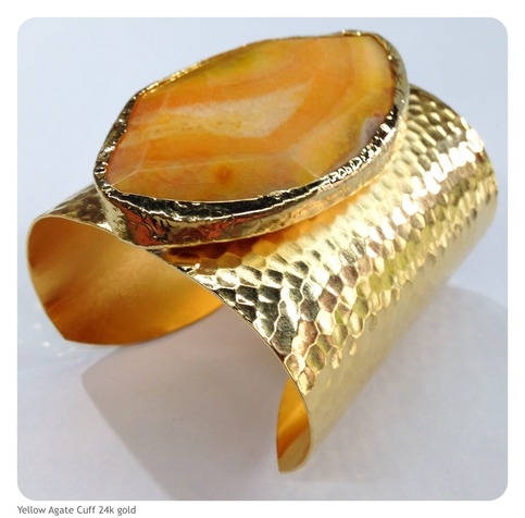Yellow agate cuff bracelet 24k gold plated beadshines for Fashion jewelry district los angeles