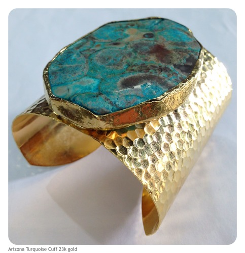 Arizona turquoise cuff bracelet 24k gold plated for Fashion jewelry district los angeles