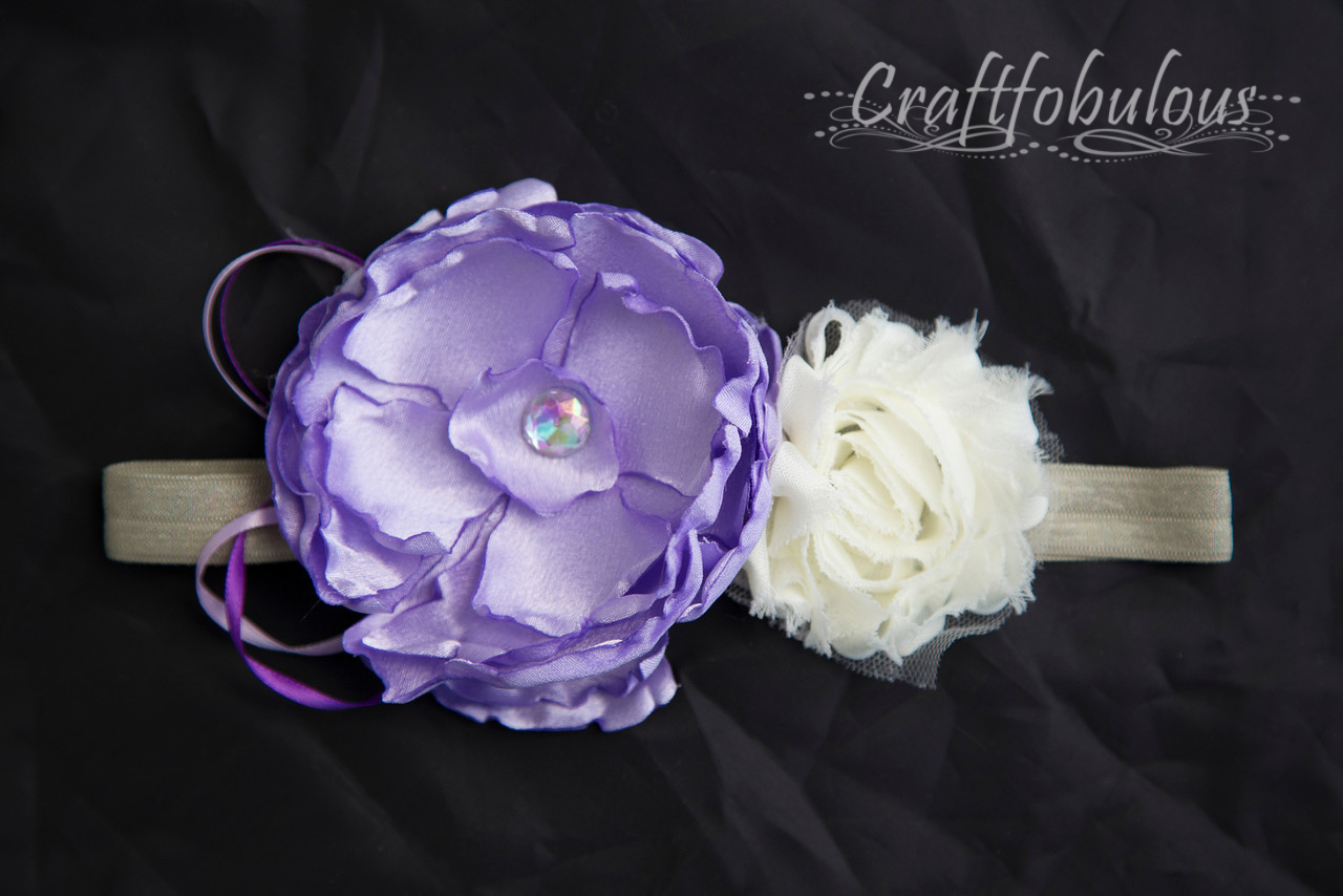 Craftfobulous Handmade Purple Satin Flower Headband With Cream