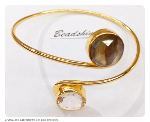 Double crystal and labradorite 24k gold plated bangle for Fashion jewelry district los angeles