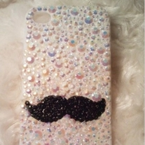 New Bling Crystal Sparkle Beard With All Colorful Rhinestones iPhone 4/4S Case