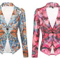 Beautiful floral Graffiti Print Crop Blazer
