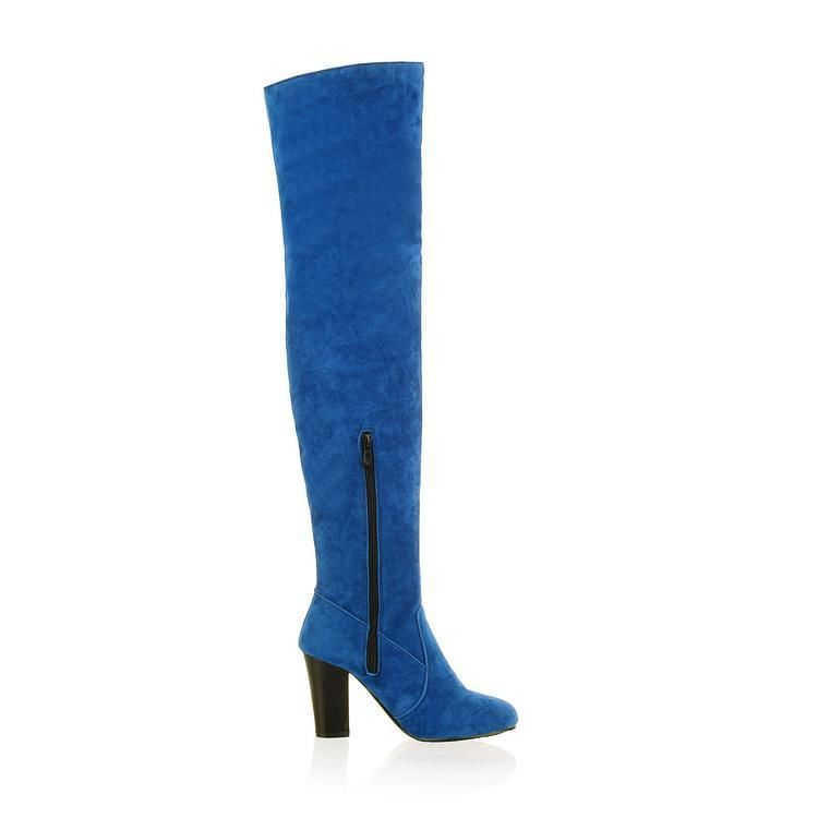 new navy blue faux suede boots the knees thigh