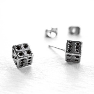 Small Dice Cube Stud Earrings in Silver